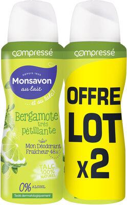 Monsavon Compressé Déodorant Femme Bergamote Très Pétillante 2x100ML - Produit - fr