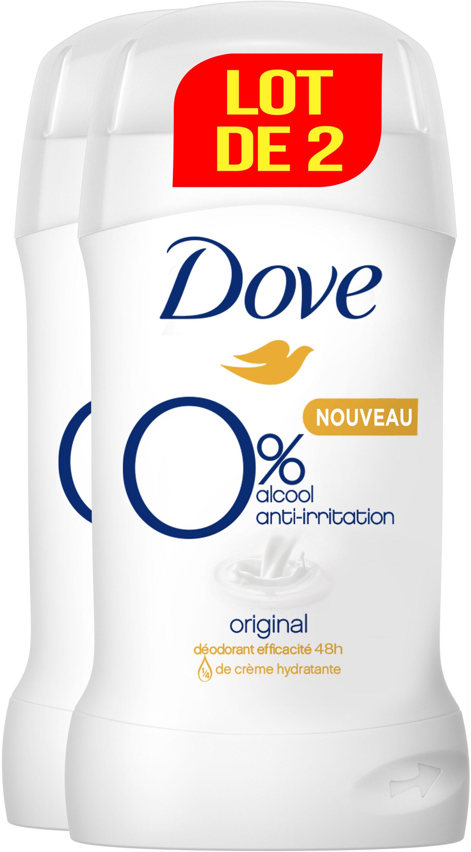 Dove Déodorant Femme Stick Antibactérien Original 0% Lot 2 x 40ml - Produit - fr