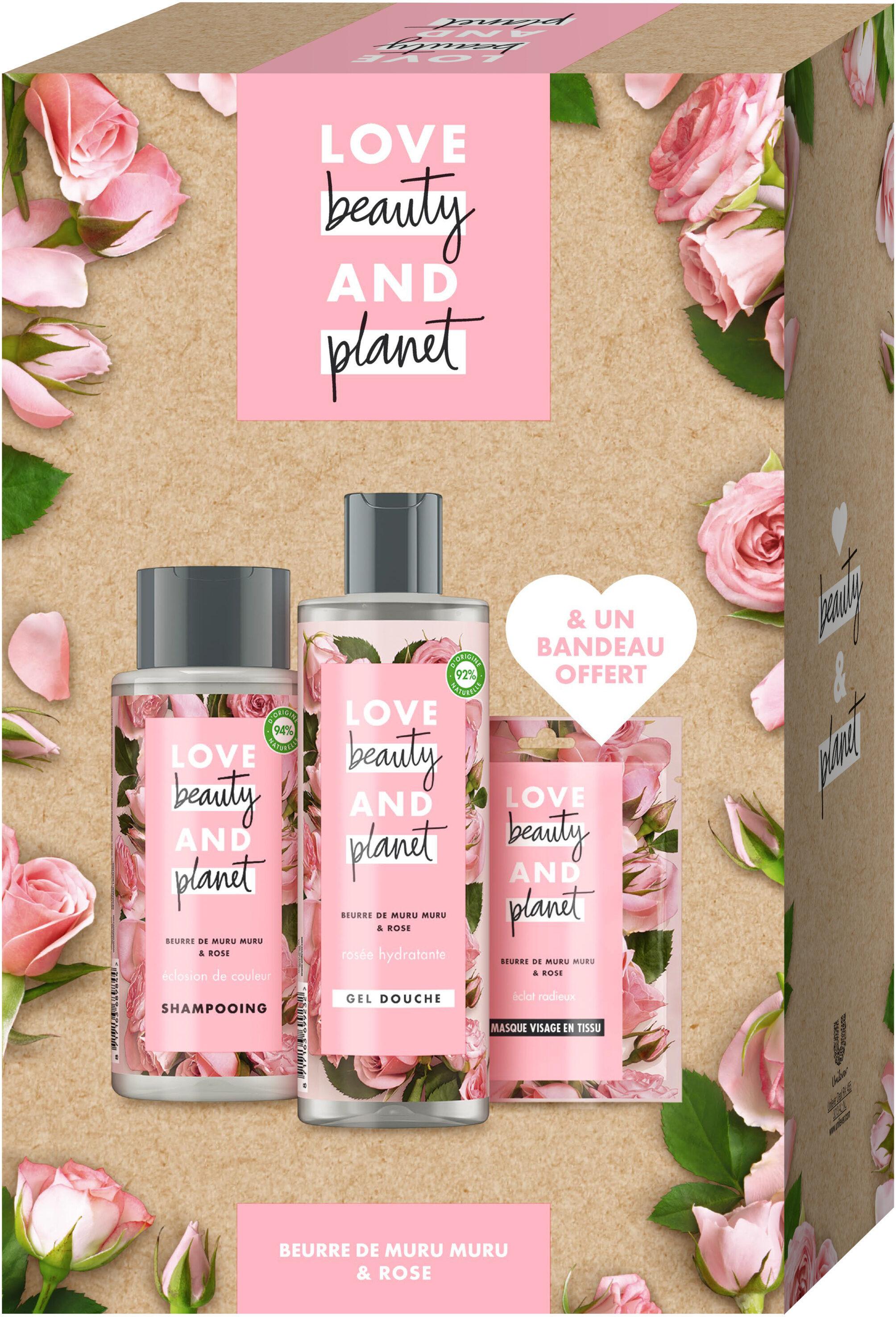 Love Beauty And Planet Coffret Shampooing, Gel douche, Masque en Tissu Beurre de Muru Muru et Rose x1 - Product - fr