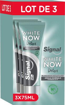 Signal White Now Dentifrice Détox Argile Minérale & Charbon Actif Lot 3x75ml - Product - fr