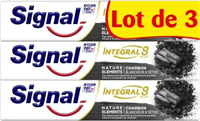 Signal Integral 8 Dentifrice Nature Elements Charbon Blancheur & Detox Lot 3 x 75ml - Product - fr