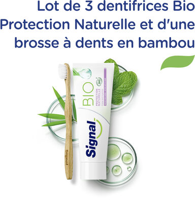Signal Kit 3 Dentifrices Bio Protection Naturelle et 1 Brosse à Dents Manuelle Souple Bambou 100 % Naturel x 1 - Product - fr