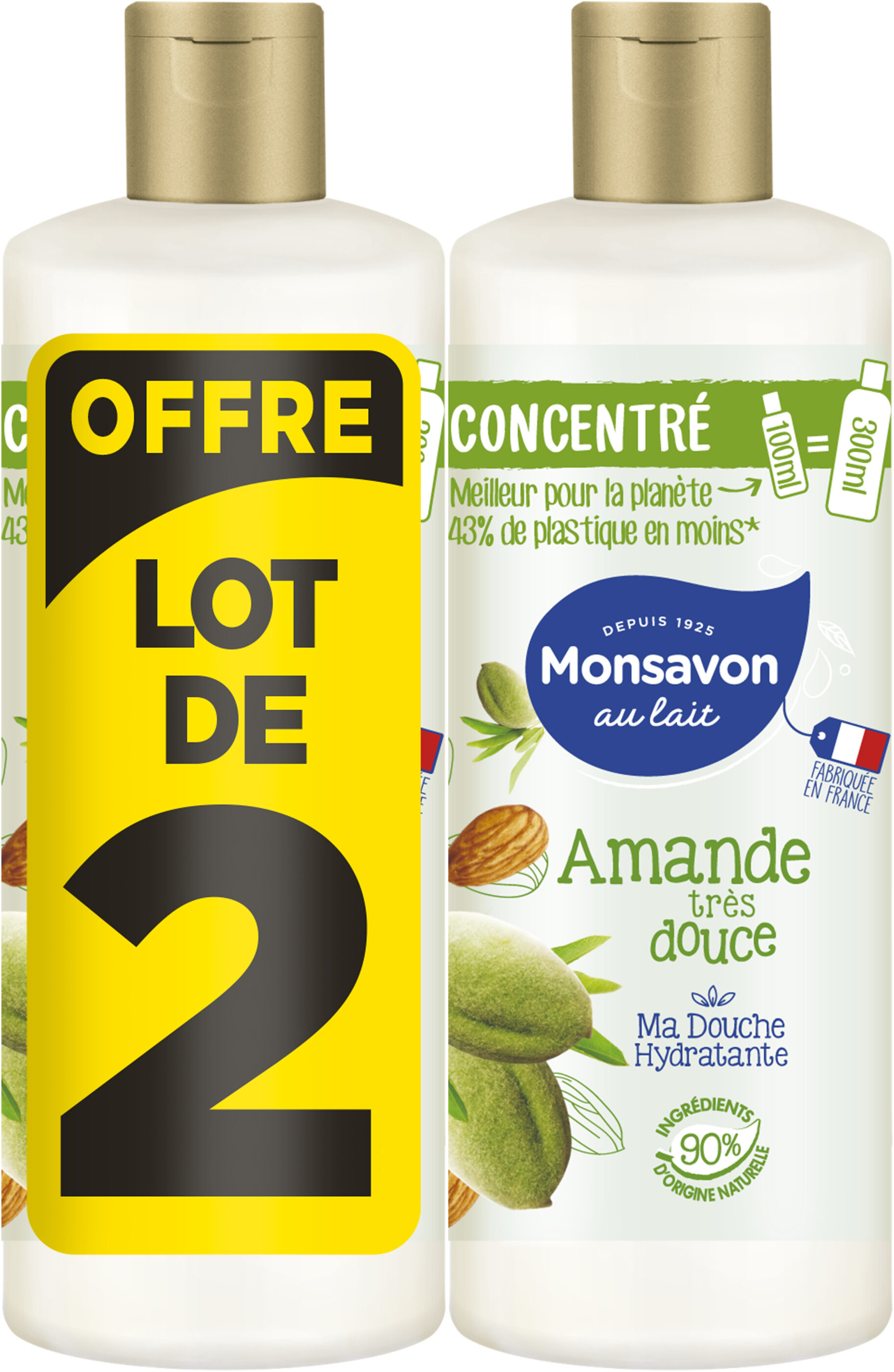 Monsavon Gel Douche Femme Concentré Amande Très Douce Lot 2x100ml - Product - fr