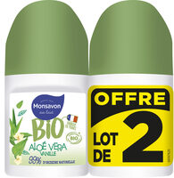 Monsavon Déodorant Bille Bio Senteur Aloé Vera Pointe de Vanille Lot 2x50ml - Product - fr