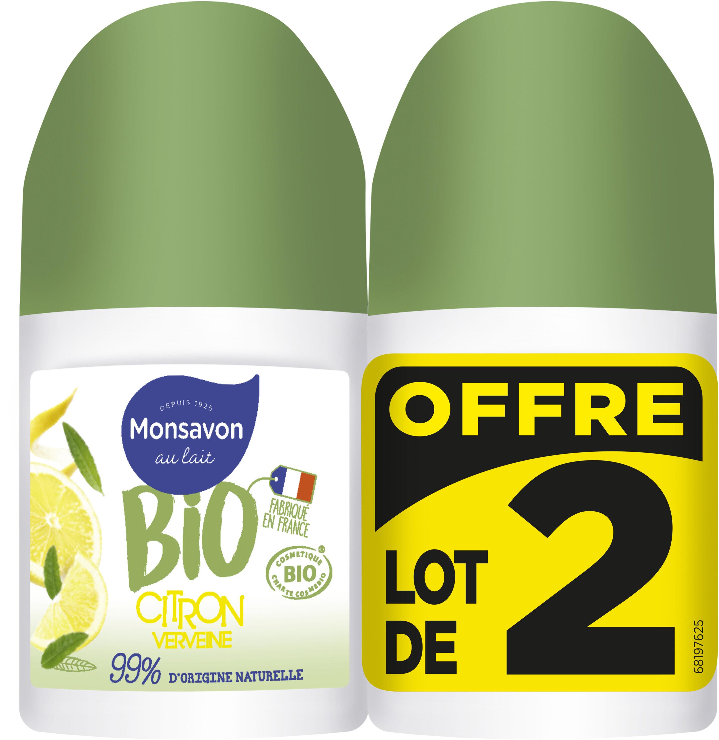 Monsavon Déodorant Bille Bio Senteur Citron Touche de Verveine Bille Lot 2x50ml - Produit - fr