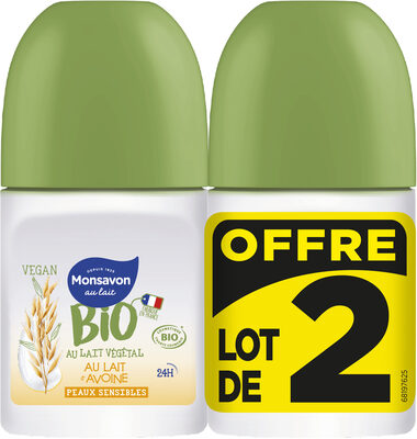 Monsavon Bio Déodorant Bille Lait Avoine Lot 2x50ml - Product - fr
