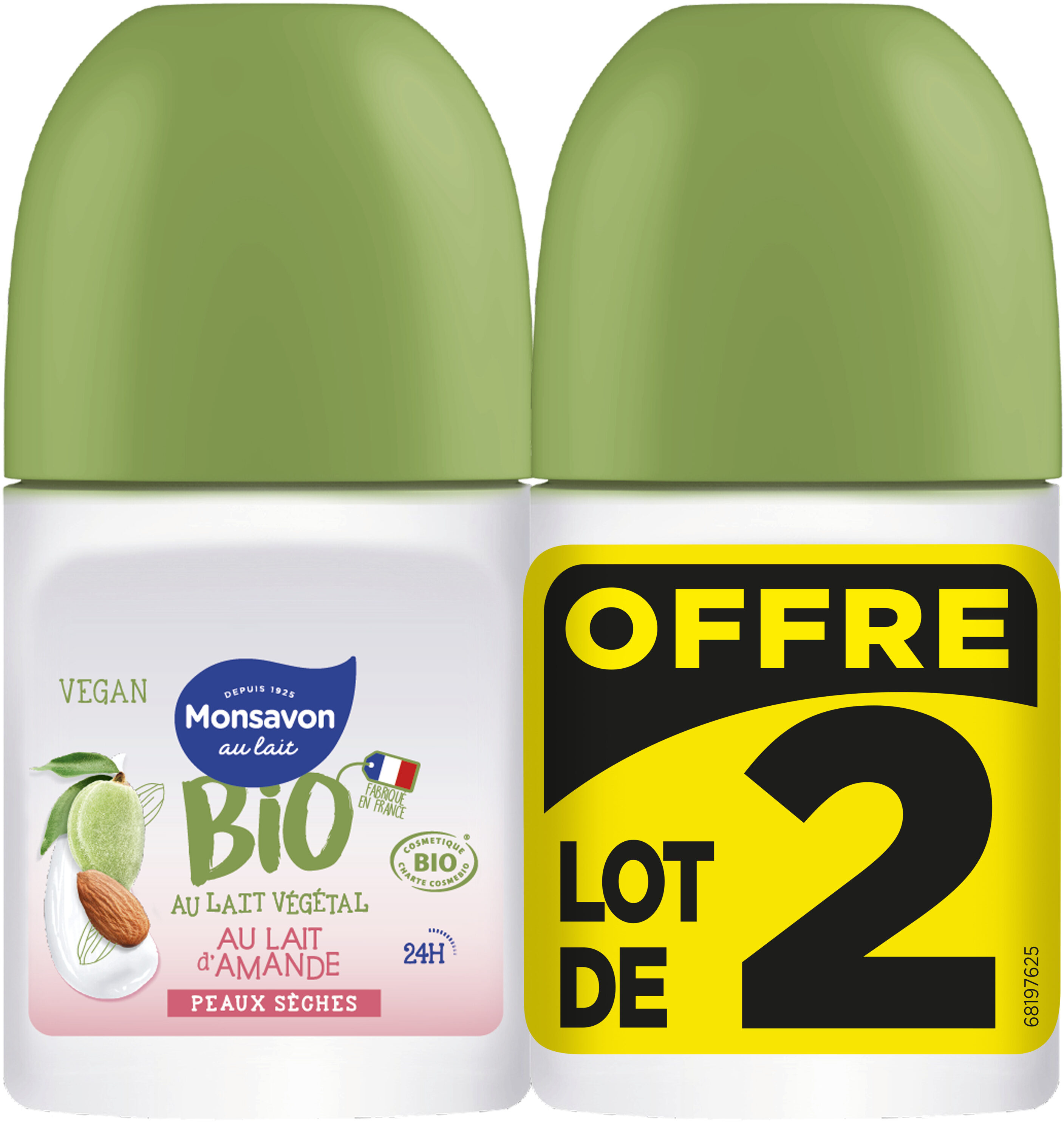Monsavon Bio Déodorant Bille Lait Amande Lot 2x50ml - Produit - fr