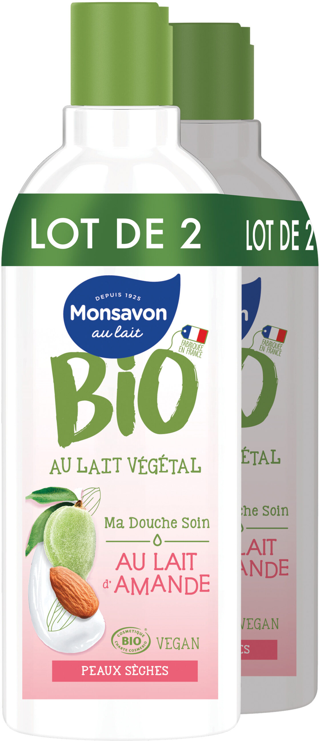 Monsavon Gel Douche Bio Lait Amande Lot 2x300ml - Produit - fr