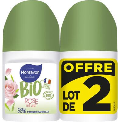 Monsavon Déodorant Bille Bio Senteur Rose soupçon de Thé Vert Lot 2x50ml - Produit - fr