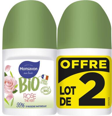 Monsavon Déodorant Bille Bio Senteur Rose soupçon de Thé Vert Lot 2x50ml - Product - fr