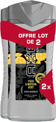 AXE Gel Douche Homme 3en1 Yuzu & Matcha Vert 2x250ml - Produit - fr