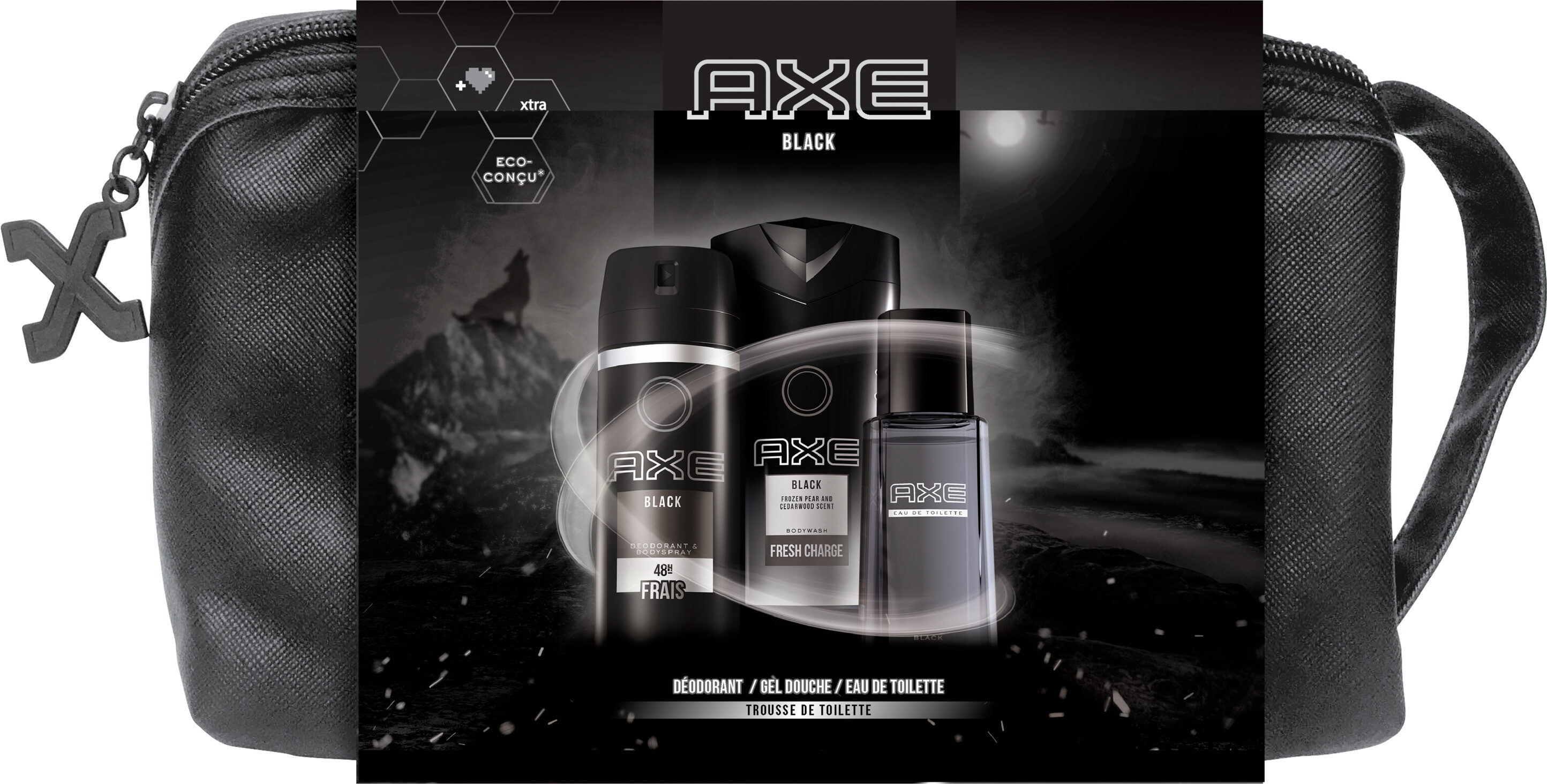 AXE Trousse Homme Black Eau de Toilette 100ml, Déodorant 150ml & Gel Douche 250ml x1 - Produit - fr