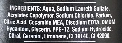 Bodywash Black Night - Ingredients