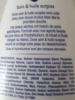 Dove Nourishing Care & Oil Crème Douche - Ingrédients - fr