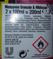 Monsavon Déodorant Femme Spray Pierre d'Alun Grenade Hibiscus 2x100ml - Ingredients - fr