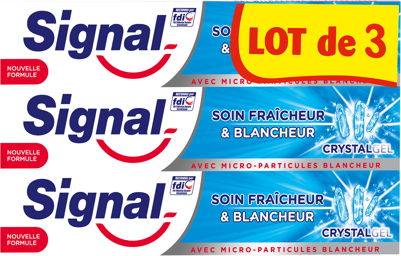 Signal Dentifrice Soin Fraîcheur & Blancheur Crystal Gel 3x75ml - Product - fr