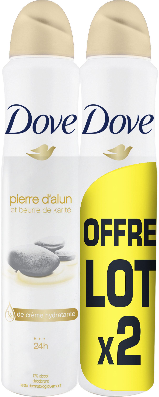 Dove Déodorant Femme Spray Anti Transpirant Pierre d'Alun Karité 200ml Lot de 2 - Product - fr