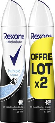 REXONA Déodorant Femme Spray Anti Transpirant Invisible Aqua 2x200ml - Product - fr