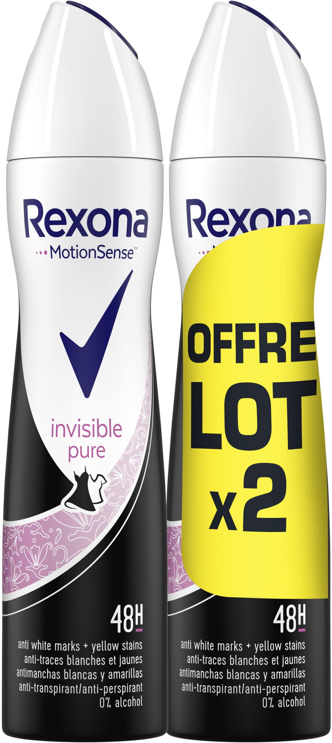 REXONA Déodorant Femme Spray Anti Transpirant Invisible Pure 2x200ml - Product - fr