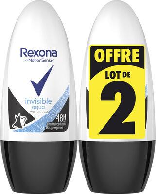 REXONA Déodorant Femme Bille Invisible Aqua 50ml Lot de 2 - Product - fr