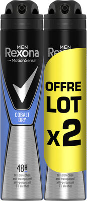 REXONA Men Anti-Transpirant Cobalt Dry Spray Lot 2x200ml - Product - fr
