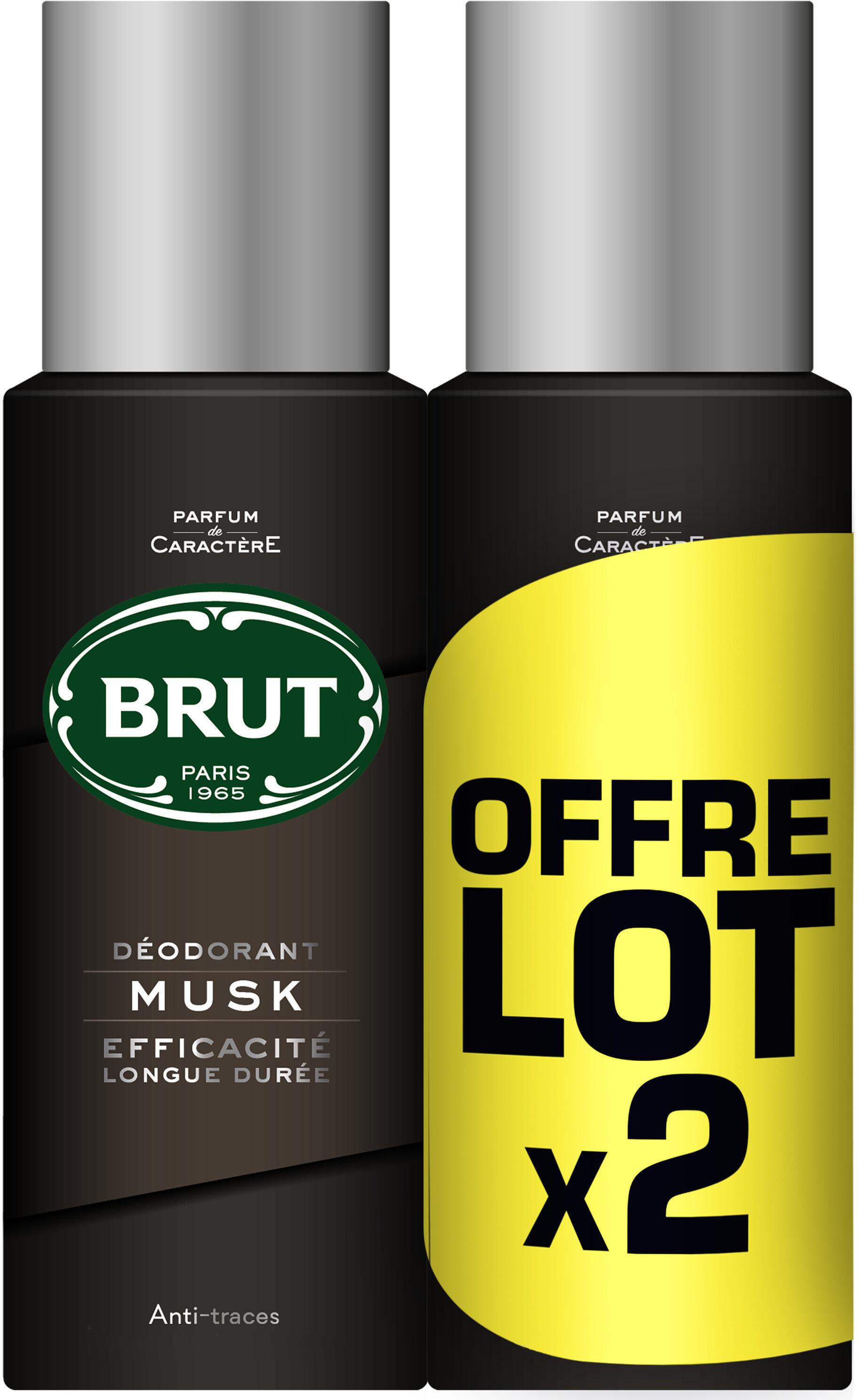 Brut Déodorant Homme Spray Musk 200ml Lot de 2 - Produit - fr