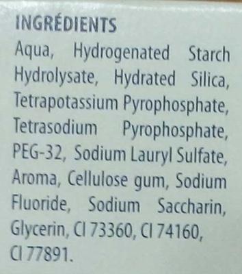 Signal Dentifrice Anti Tartre - Ingredients - fr