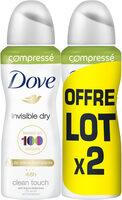 Dove Déodorant Femme Spray Anti Transpirant Invisible Dry Compressé 100ml Lot de 2 - Product - fr