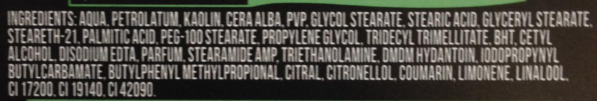 AXE Natural Gel Cheveux Argile Remodelable Effet Mat Black Pot - Ingrédients - fr