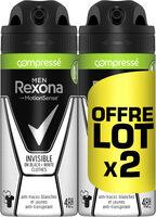 REXONA Men Anti-Transpirant Invisible Black White Compressé Lot 2x100ml - Product - fr