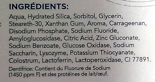 Zendium Dentifrice Protection Complète - Ingredients - fr