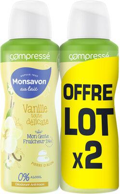 Monsavon Déodorant Femme Anti Transpirant Lait & Fleur de Vanille Compressé 100ml Lot de 2 - Product