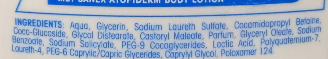 AtopiDerm Douche Crème Peaux Extra Sèches, réactives à atopiques - Ingredients