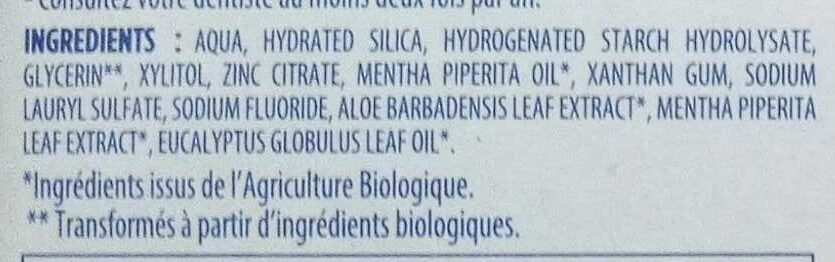 Signal Dentifrice Bio Fraîcheur Naturelle - Ingredients - fr