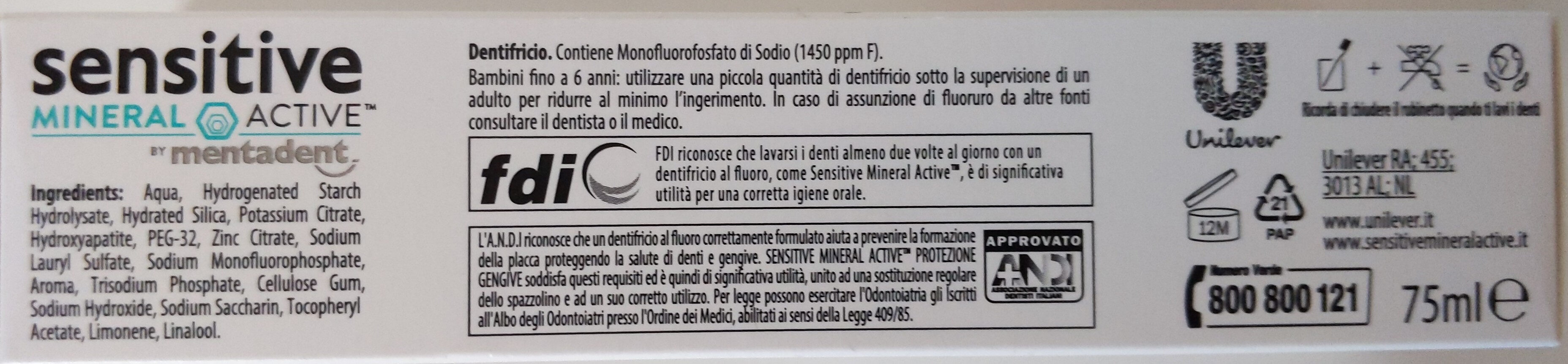 Sensitive mineral active Protezione gengive by Mentadent - Product - en