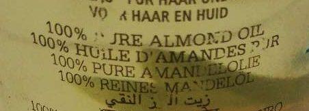 100% Pure Almond Oile - Huile d'Amande Douce - Ingrédients