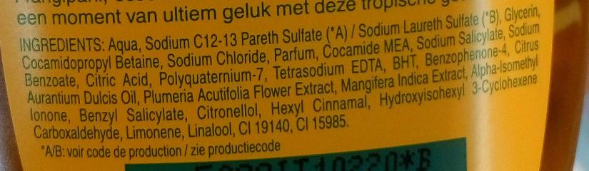 Gel douche soyeux - Ingredients