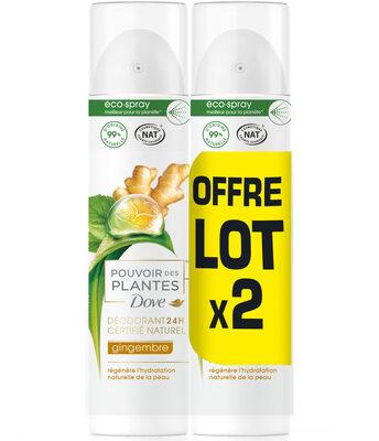 Dove Déodorant Femme Spray Pouvoir des Plantes Gingembre 2x75ml - Product - fr