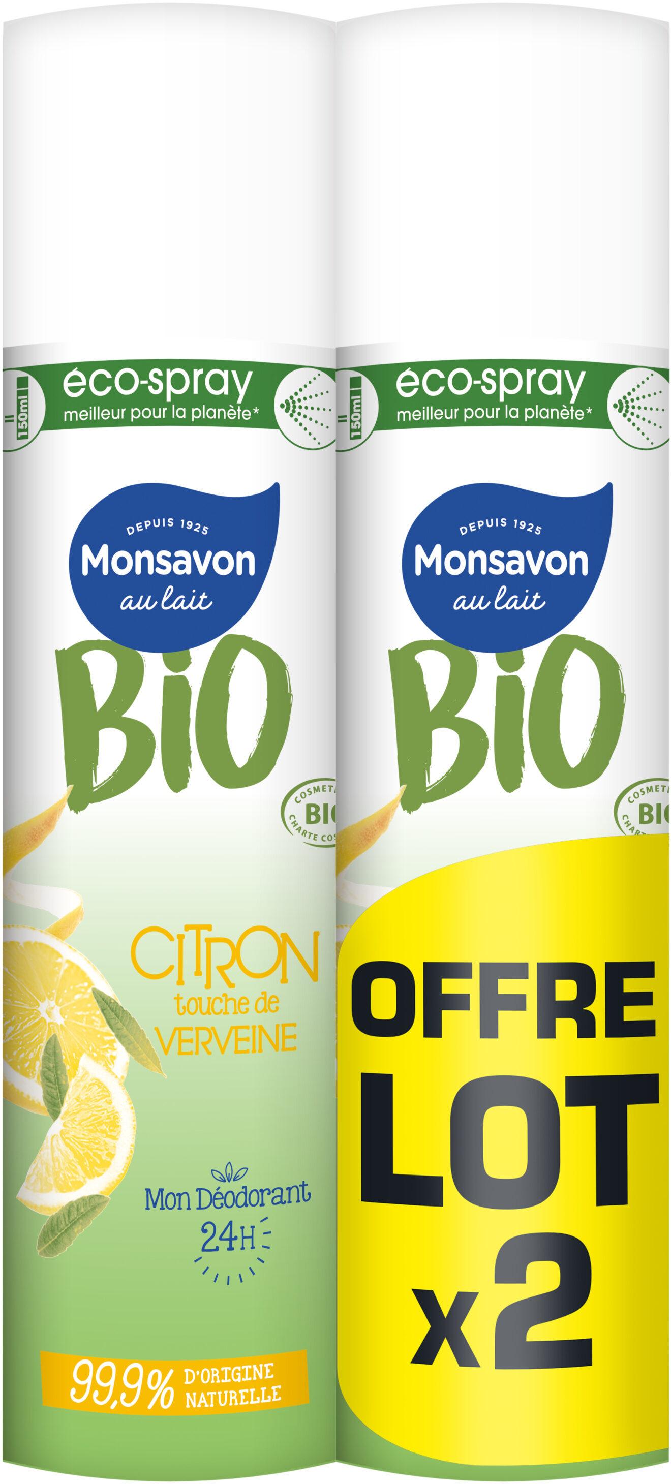 Monsavon Bio Déodorant Femme Spray Citron Touche de Verveine Lot 2x75ml - Product - fr