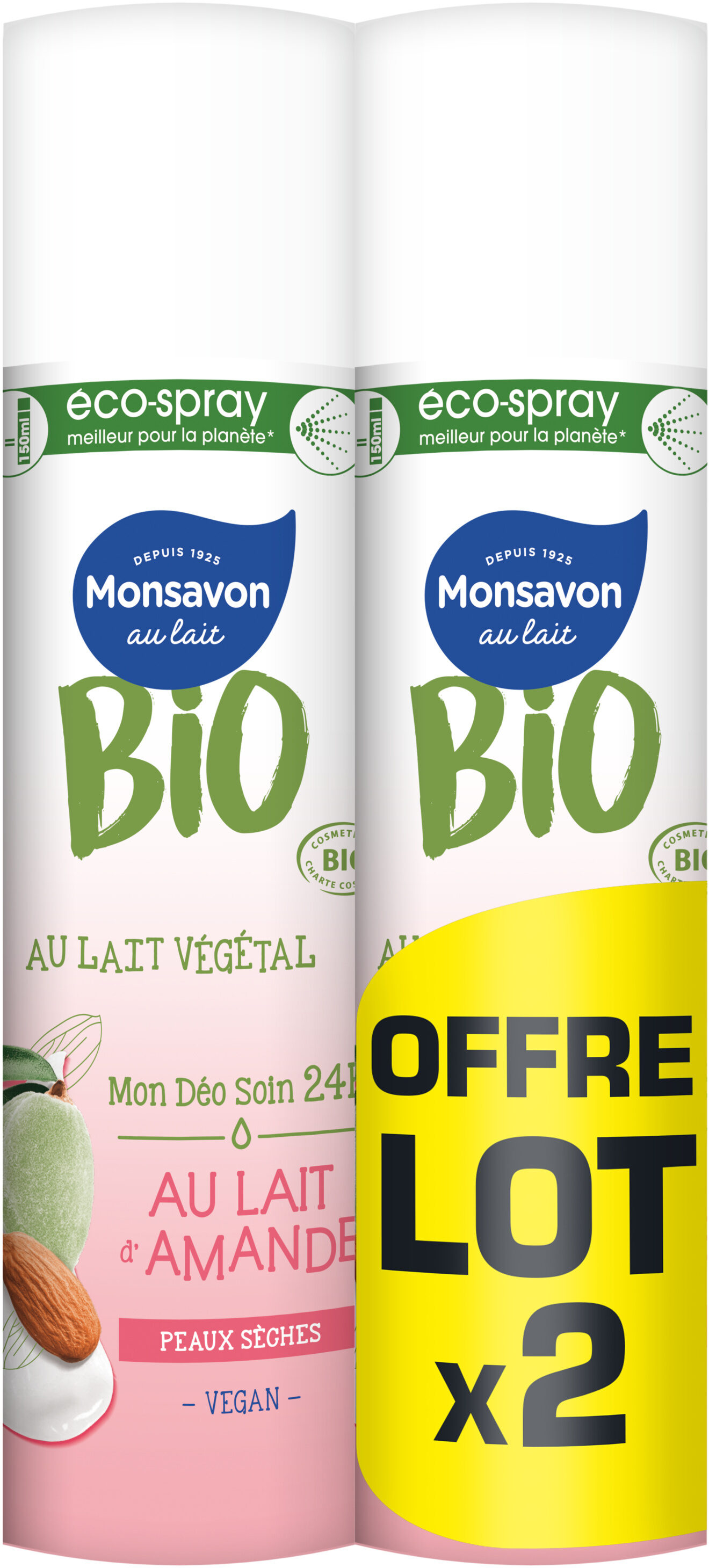 Monsavon Bio Déodorant Spray Lait Amande Lot 2 x 75 ml - Product - fr