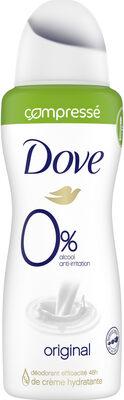 Dove 0% Déodorant Femme Spray Antibactérien Original Fraîcheur 24H - Produit - fr