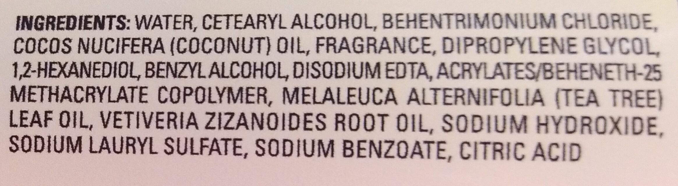 Tea Tree Oil & Vetiver Conditioner - Ingredients - en