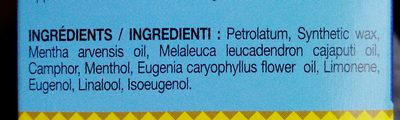Baume Du Tigre Blanc 19G - Ingredients - fr