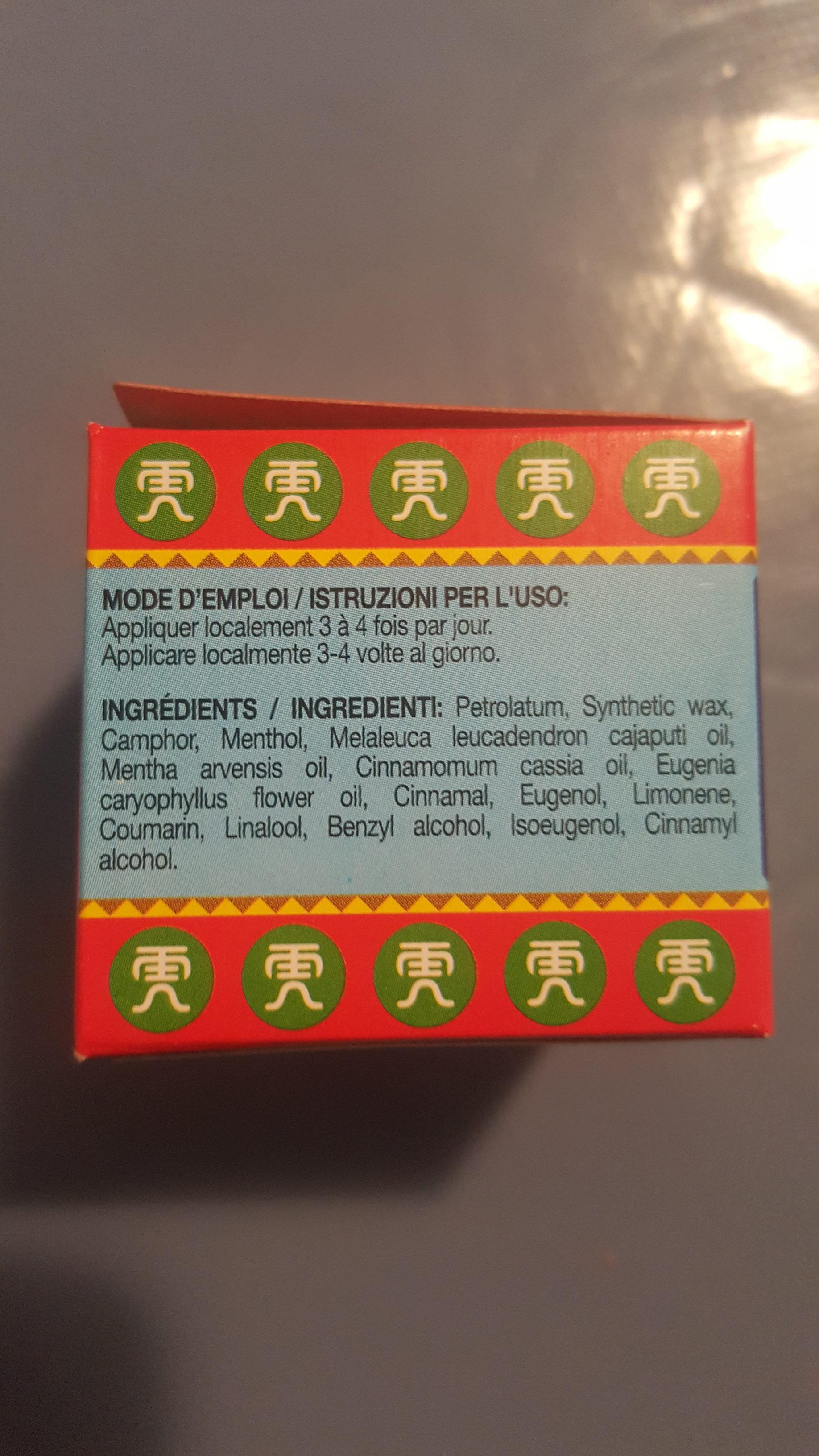 Baume du Tigre rouge - Ingredients