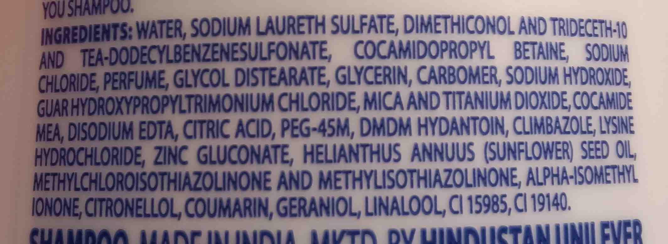 Dove shampoo - Ingredients - en