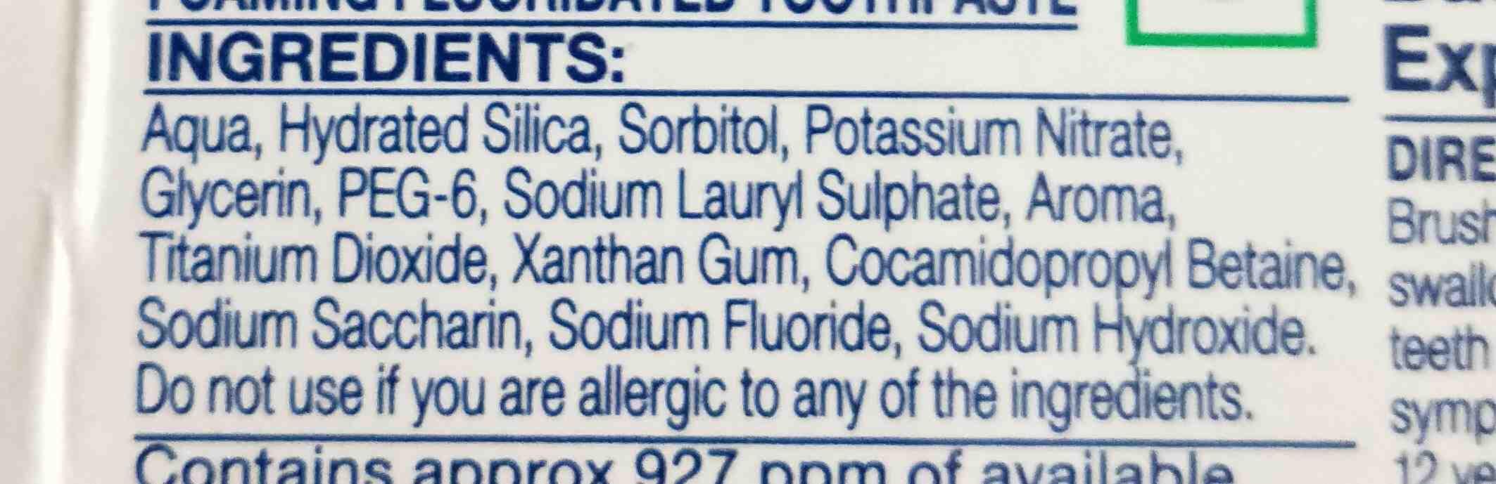 Sensodyne toothpaste - Ingredients - en