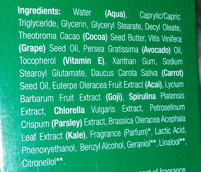facial recovery serum - Ingredients