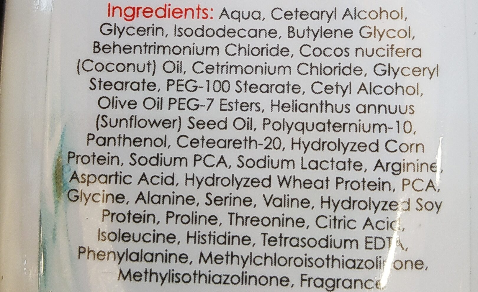 Hair Conditioner - Ingrédients