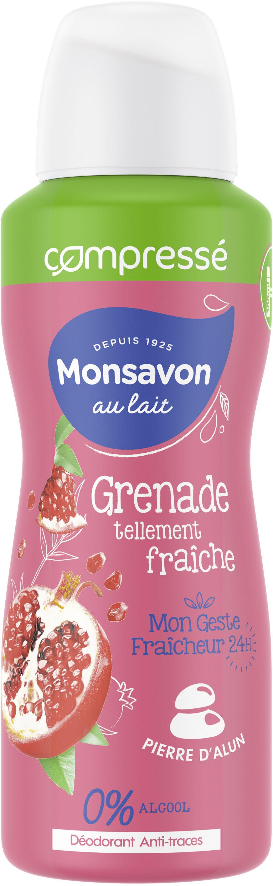 Monsavon Déodorant Femme Spray Antibactérien Pierre d'Alun Lait Grenade & Hibiscus - Product - fr