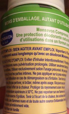 Monsavon Déodorant Femme Spray Antibactérien Lait & Vanille - Ingredients - fr